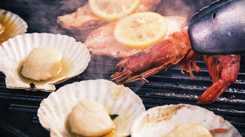 テラスバーベキュー魚介プレート