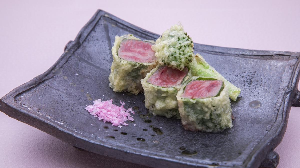 宮崎牛と菜の花の天ぷら 黒潮水晶 さくら塩