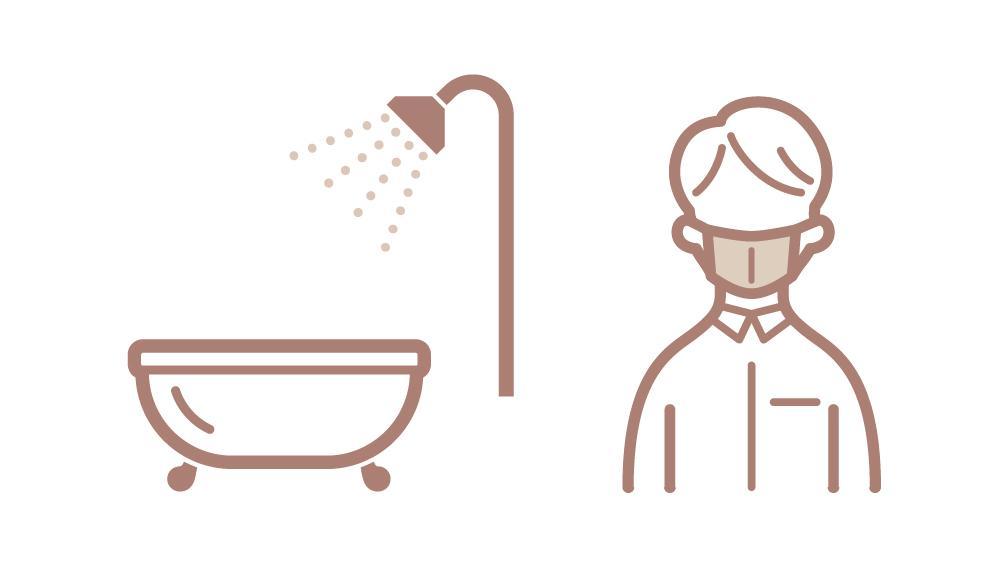 施術前のシャワー・入浴および施術中のマスク着用をお願いします。