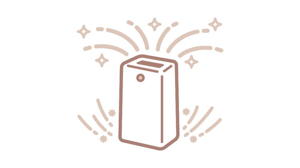 室内では深紫外線除菌機能付の空気清浄機を使用しています