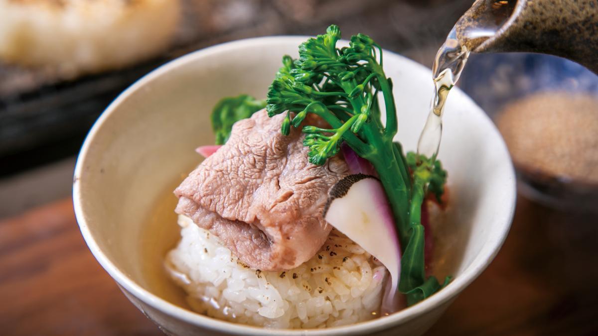 宮崎牛と西洋野菜の焼きおにぎり茶漬け