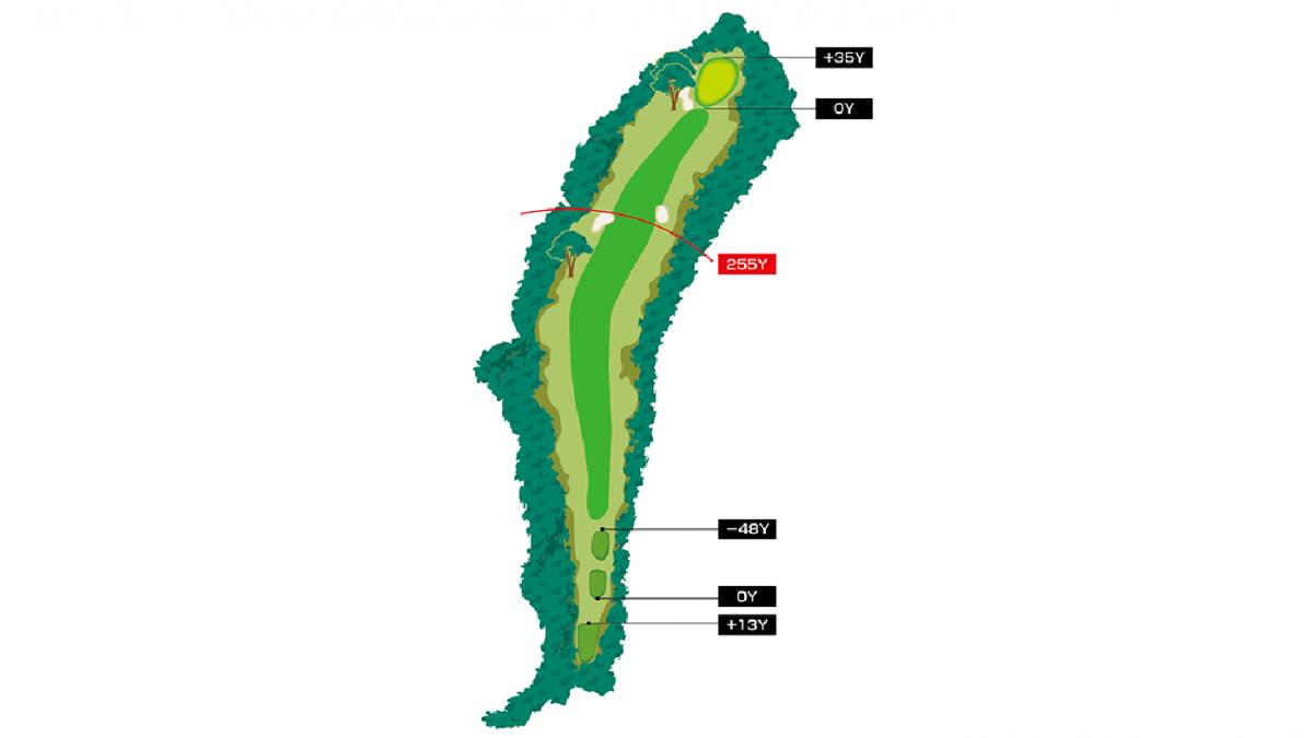 日南コース Hole 6 Par 4 コースマップ